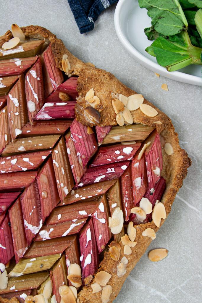 Honigsüße gesunde Rharbarber Galette